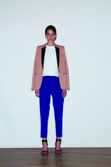 Bi-color grain de poudre jacket $22000, Mini Ottoman silk and viscose sculpted top $7200, Silk cropped pants $8500
