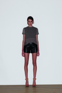 Summer wool tweed sculpted top $9300, Bonded lambskin leather short $17000