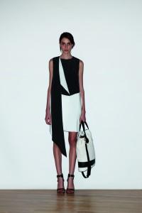 Bi-color silk wrap neck dress, $13500