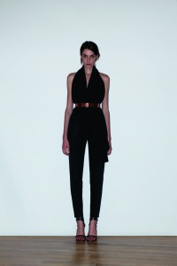 Backless silk crepe halter top $7000, Silk crepe cropped pants$7800