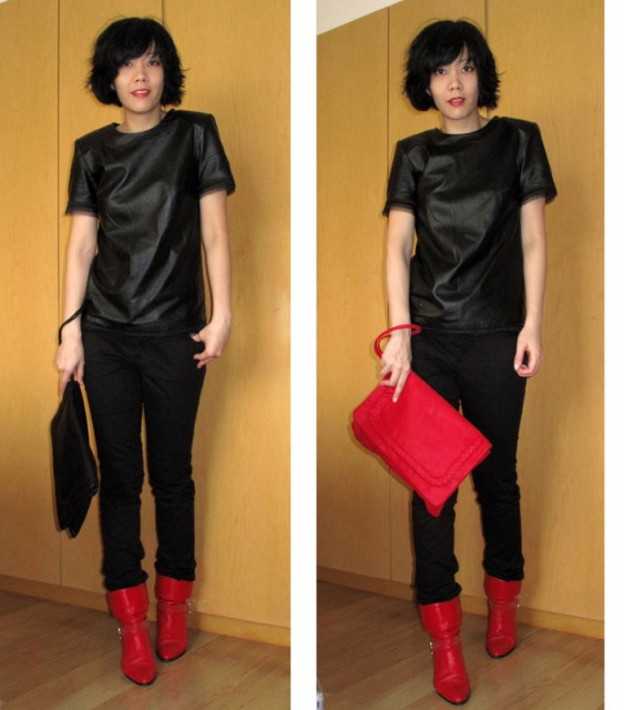 Leather Top Izzue, Hussein Chalayan for PUMA pants, Toga Vintage Boots, Winifredx Jas M.B. Lisa Clutch