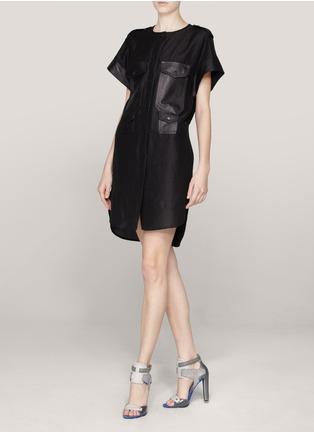 Alexander Wanf leather trim shift dress