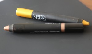 gold and warm gold crayon, my favourite on lower eye brim